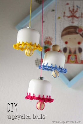 DIY upcycled spring easter bells vivereapiedinudi 1