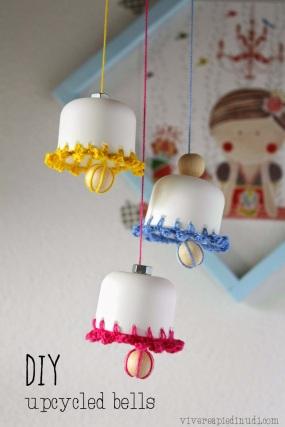 DIY upcycled spring easter bells vivereapiedinudi 1